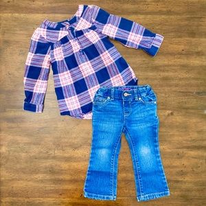 Children's Place Jeans and Jumping Beans Plaid Top